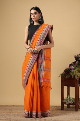 Chitrika Classic Counter Dobby Orange Cotton Handloom Saree Online
