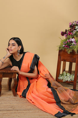 Chitrika Comet Buta Cotton Handloom Orange Kuppadam Saree Online