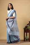 Chitrika 4 Square Buta Cotton Handloom Light Blue Kuppadam Saree Online