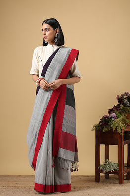 Chitrika Plain Kuppadam Cotton Handloom Saree Grey