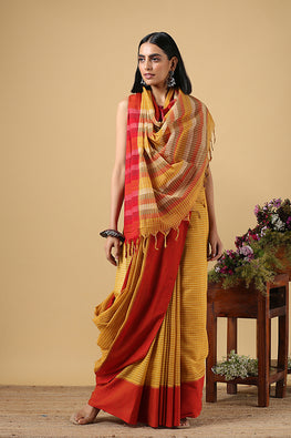 Chitrika Temple Checks Dobby Mustard Cotton Handloom Saree Online