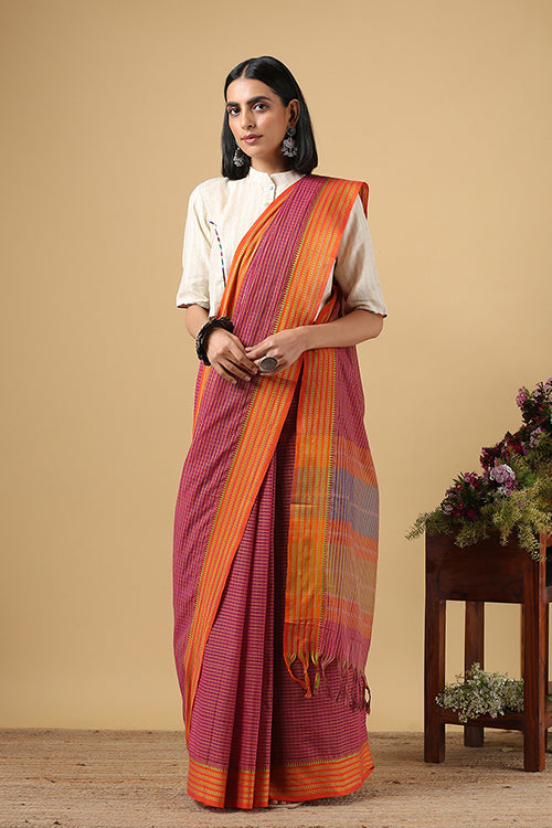 Chitrika Temple Touch Dobby  Dark Pink Cotton Handloom Saree Online
