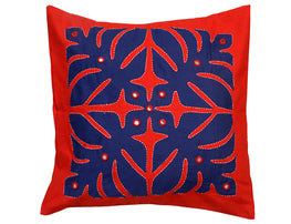 """Okhai Indigo Appliqued Cushion Cover"""