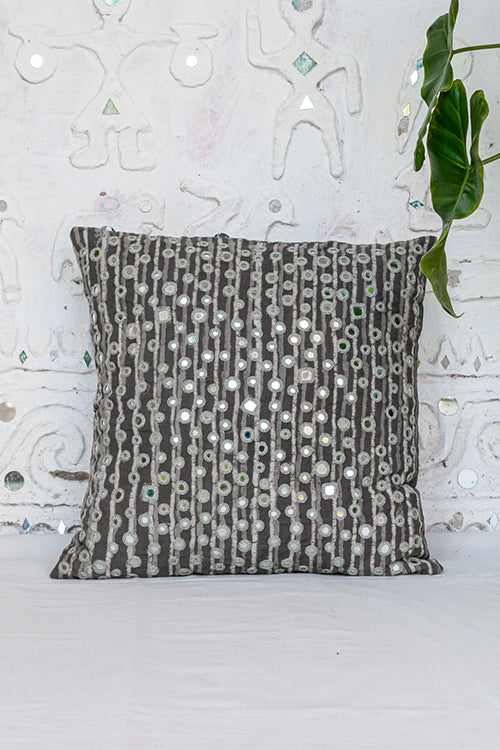 Okhai Grey Cotton Mirror Work Cushion Cover