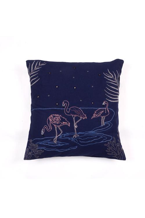 Okhai 'Flamin-glow' Hand Embroidered Mirror Work Cotton Cushion Cover