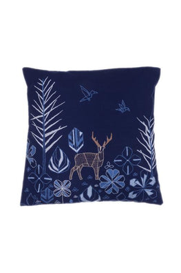 Okhai 'Panorama' Hand Embroidered Cotton Cushion Cover