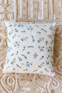 Okhai 'Mayflower' Hand Embroidered Pure Cotton Cushion Cover