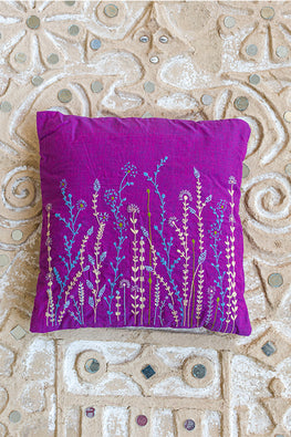Okhai 'Vinyard' Hand Embroidered Cotton Handloom Cushion Cover