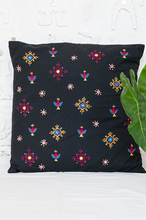 Okhai 'Clover' Hand Embroidered Mirror work Cotton Handloom Cushion Cover