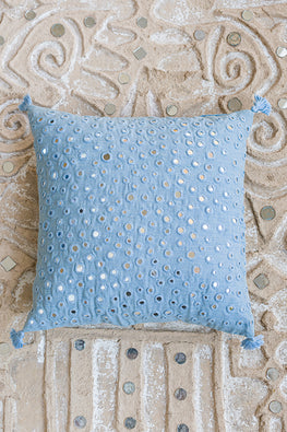 Okhai 'Twinkle' Mirror work Cotton Handloom Cushion Cover