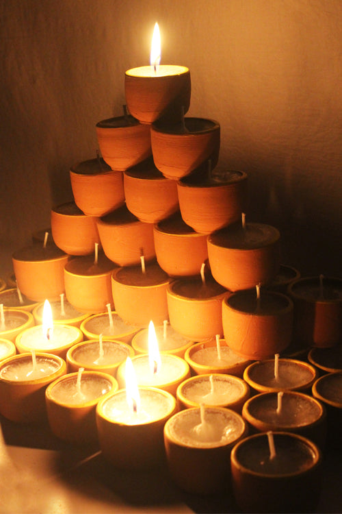 Craftlipi Terracotta Cup Candle Holder Set of 50 Online