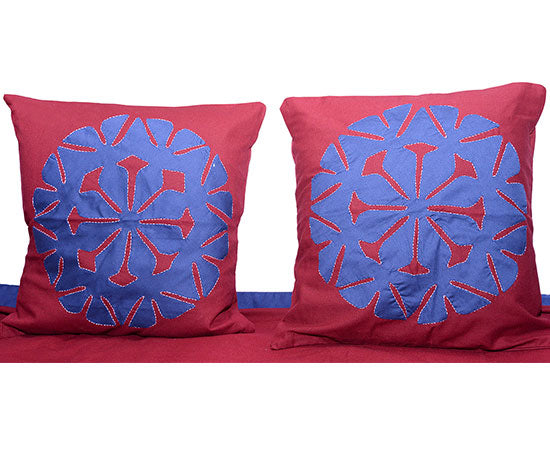 Maroon and Navy Blue Applique Bedcover