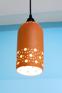 Craftlipi CYL STRAIGHT Handcrafted Terracotta Ceiling Hanging Lamp Online