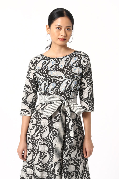 Relume Hand Block Print Mirror Work Pure Cotton Dress For Women Online