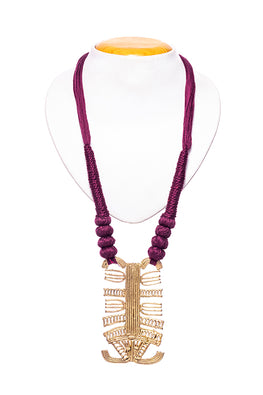 Miharu Brass Thread Matinee Necklace D11c