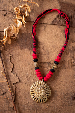 Miharu Red-Black Brass Thread Princess Necklace D29a