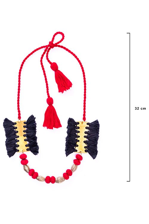 Miharu Brass Thread Matinee Necklace D35a