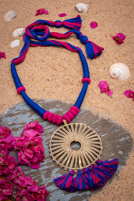 Miharu Blue-Pink Gold Tone Dokra Necklace with Tassels D40b