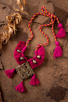 Miharu Pink Brass Thread Matinee Necklace D43d