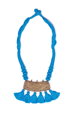 Miharu Sky Blue Gold Tone Dhokra Necklace D50c