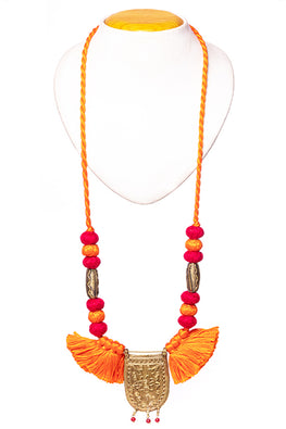 Miharu Brass Thread Matinee Necklace D59b