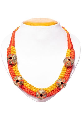 Miharu Orange-Yellow Brass Thread Choker Necklace D6b