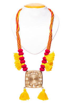 Miharu Brass Thread Matinee Necklace D73c