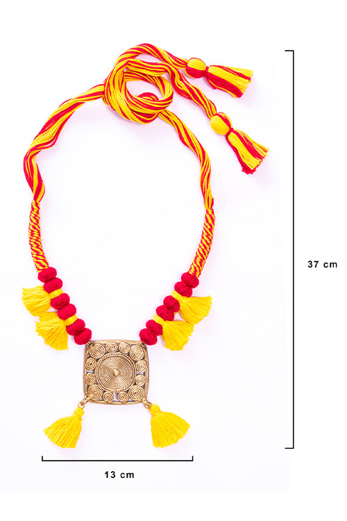 Brass Thread Matinee Necklace D73c