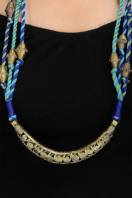 Brass Thread Matinee Necklace D74b