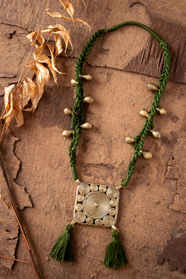 Miharu Deep Green Brass Thread Princess Necklace D79d