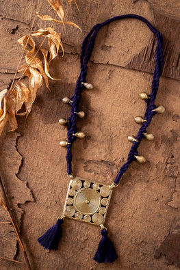 Miharu Deep Blue Brass Thread Princess Necklace D79e