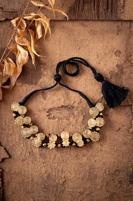 Miharu Brass Thread Choker Necklace D84b