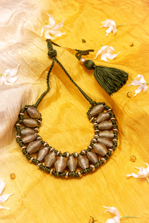 D86 Brass Thread Choker Handmade Necklace Online