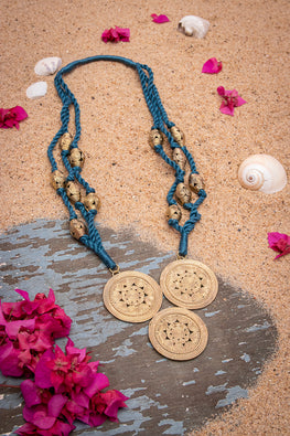 Miharu Blue Thread Brass Bead Necklace D92