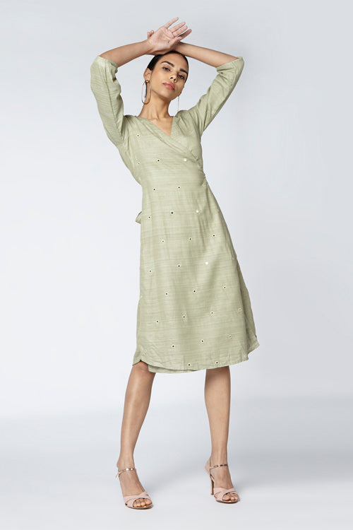 Okhai 'Eucalyptus' Silk Blend Wrap Dress