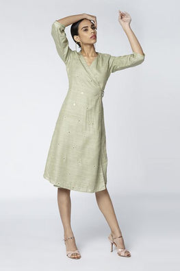 Okhai 'Eucalyptus' Handwoven Cotton Silk Wrap Dress