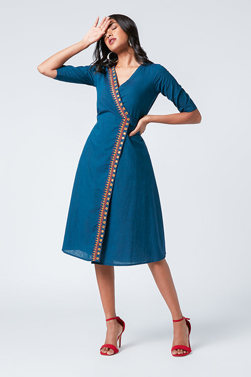 Okhai 'Nova' Embroidered Cotton Wrap Dress