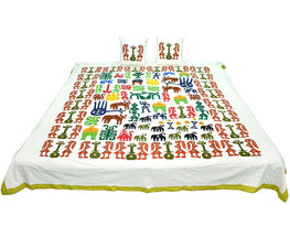 Okhai Off-White Applique Play Cotton Casement Cotton Poplin Double Bedsheet