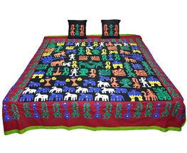 Okhai Black Applique Play Cotton Casement Cotton Poplin Double Bedsheet