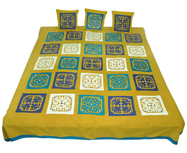 Okhai Mustard Applique Play Cotton Casement Cotton Poplin Double Bedsheet