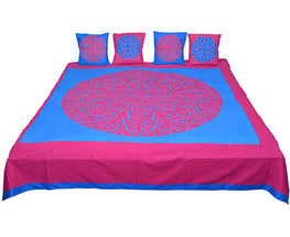 Okhai Blue and Pink Applique Bedcover