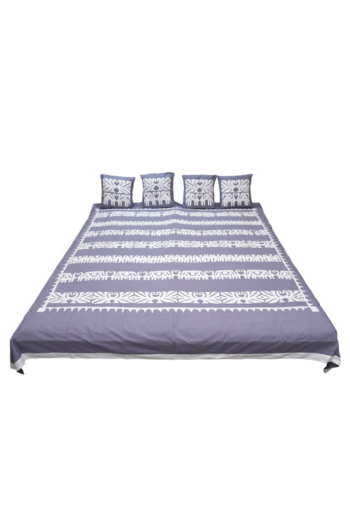 Okhai 'Vibhuti' Pure Cotton Applique Mirror Work Bed Cover