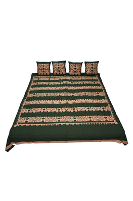 Okhai 'Dhuni' Pure Cotton Applique Mirror Work Bed Cover