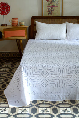 Okhai 'Celeste' Pure Cotton Applique Work Bed Cover Set