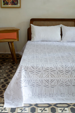 Okhai 'Mosaic' Pure Cotton Applique Work Bed Cover Set