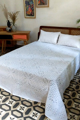Okhai Ivory Applique Work Pure Cotton Bed Cover Set Online