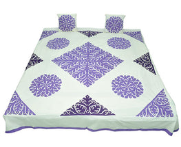 Okhai Off White and Purple Bedcover