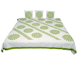 Okhai White and olive Bedcover Set