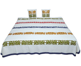 Okhai Multi Coloured Handcrafted Bed Cover