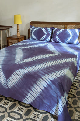 Okhai 'Bleu' Pure Cotton Tie-Dye Bed Cover